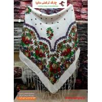 چارقد سفید ترکمنی مدل گلبهار