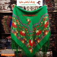 چارقد سبز ترکمنی مدل گلبهار کد gol4