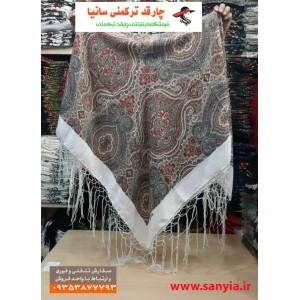 چارقد ترکمنی خوش نگار طرح گل یقه ای کد Goly2